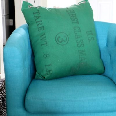 DIY Upcycled Mail Bag Pillow