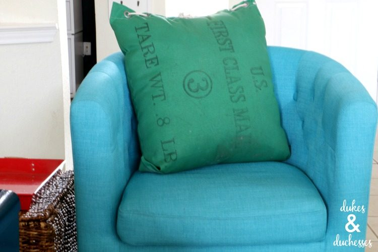 pillow made from old mail bag