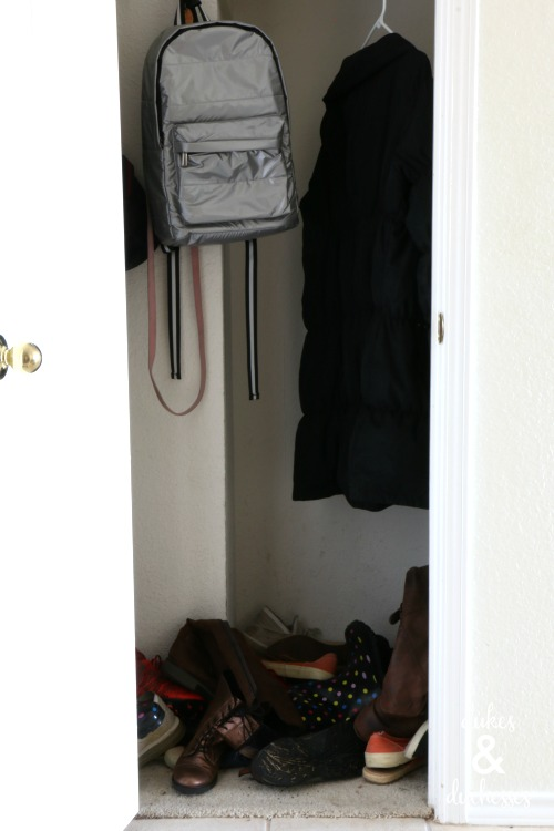 shoe and coat closet before organization