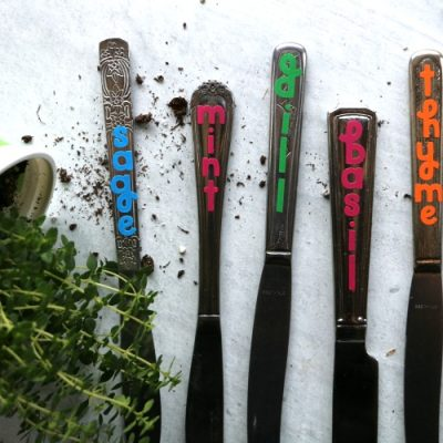 DIY Upcycled Knife Garden Markers