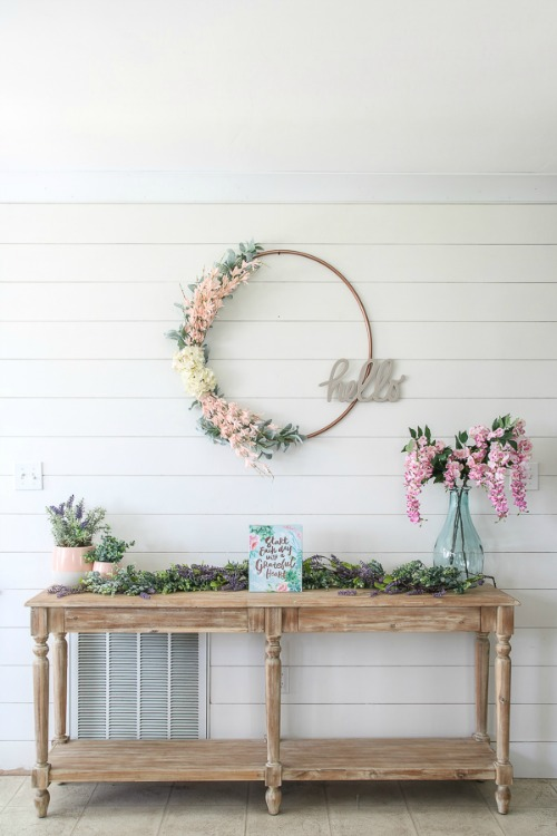 DIY hula hoop spring wreath