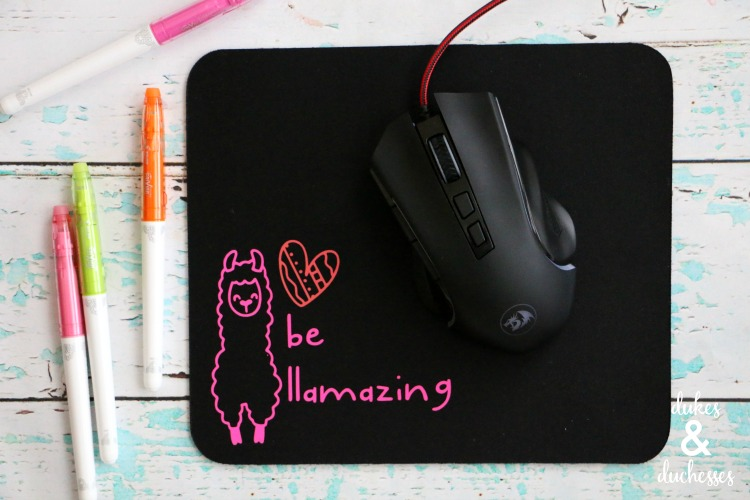 DIY llama mouse pad made with iron on
