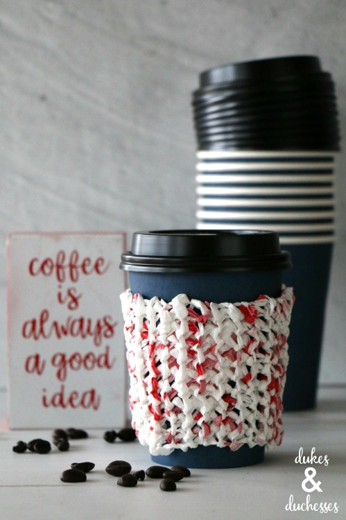 repurposed plastic bags coffee cuff