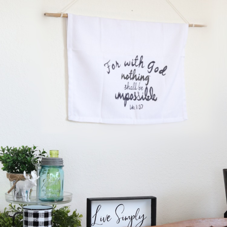upcycled cloth napkin wall hanging