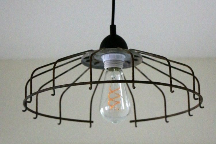 Upcycled diy fan cover light fixture