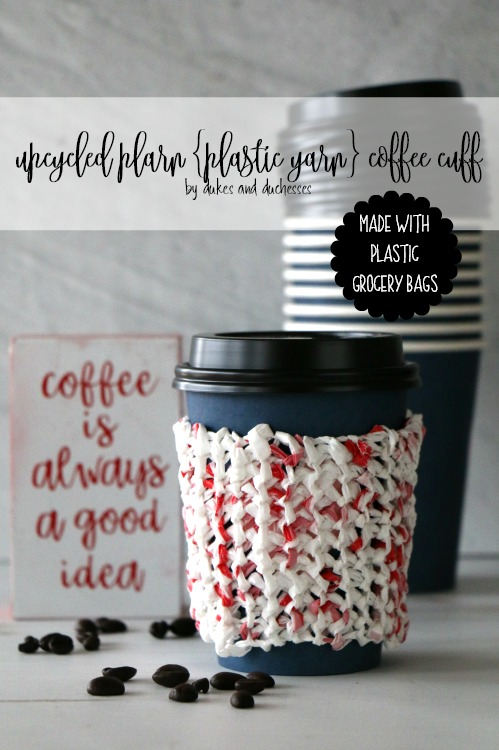 upcycled plarn plastic yarn coffee cuff made with grocery bags