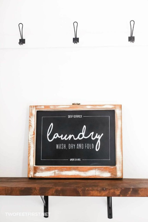 upcycled window laundry sign