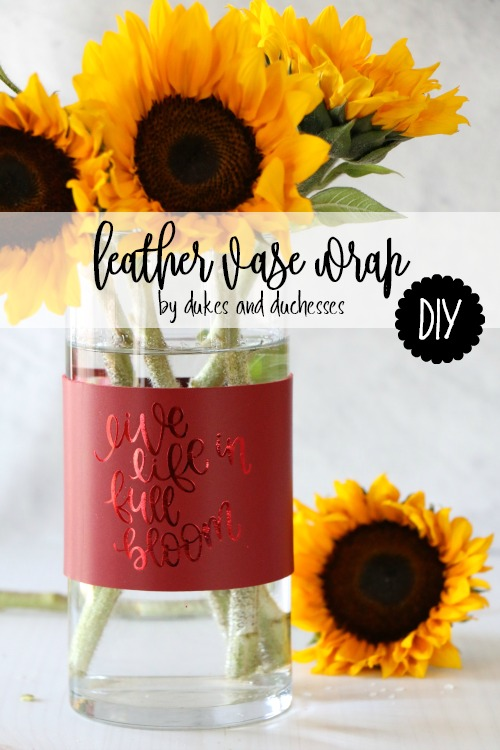 DIY leather vase wrap
