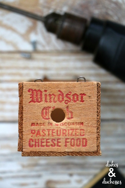 vintage cheese box upcycled into DIY docking station