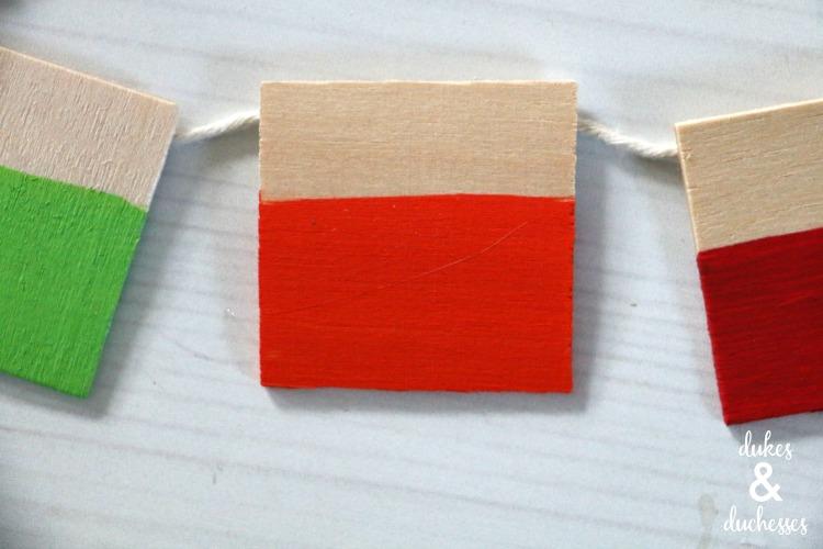 DIY color block wood garland