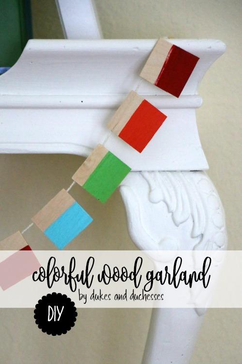 DIY colorful wooden garland