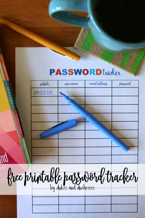 free printable password tracker