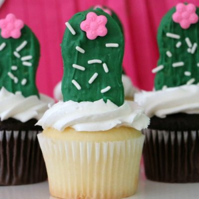 Easy Nutter Butter Cactus Cupcakes