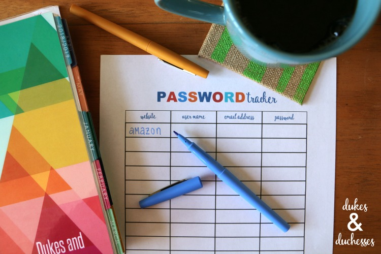 printable password tracker for home organization