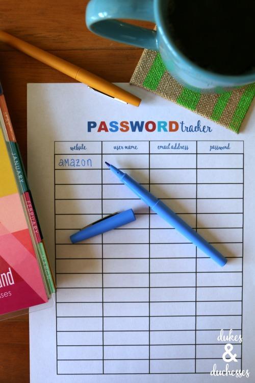 printable password tracker sheet