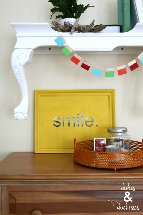 repurposed table wall shelf