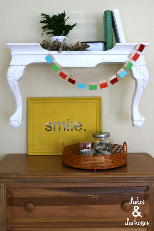 upcycled wall shelf made from a table