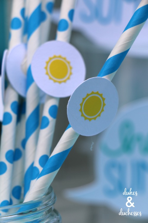 sun straw toppers for hello summer party