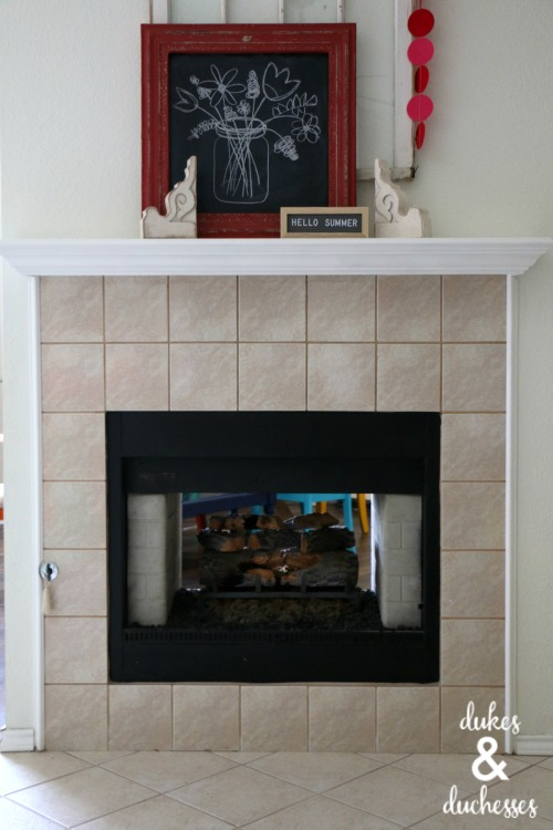 how to paint fireplace tile surround