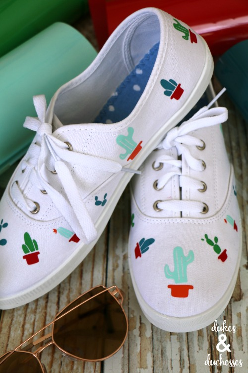 DIY cactus shoes made with cricut iron on
