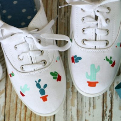 DIY Cactus Shoes Made with the Cricut EasyPress Mini
