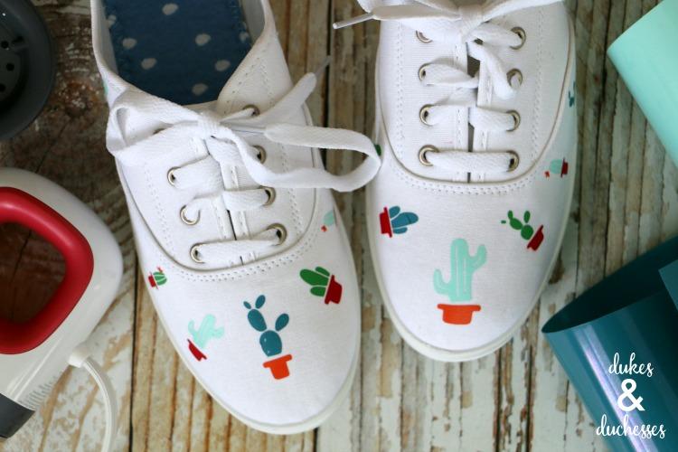 DIY embellished cactus tennis shoes
