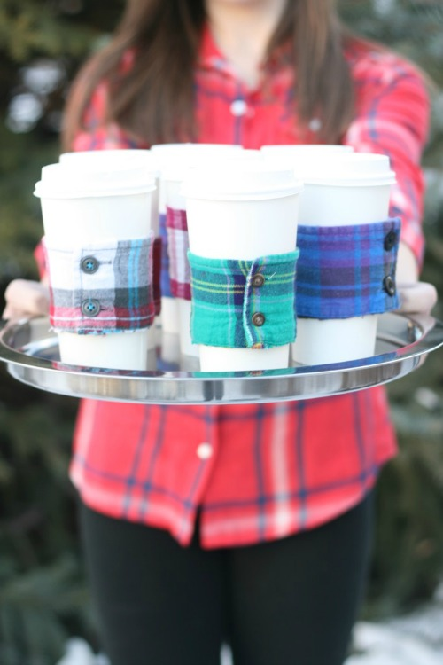 DIY flannel sleeve coffee cuff