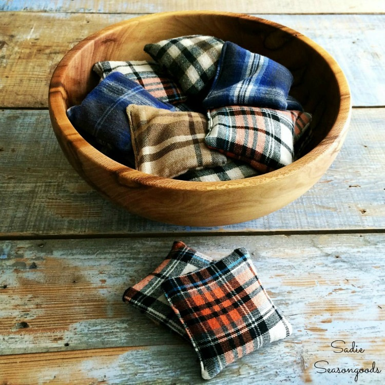 DIY hand warmers made from flannel shirts