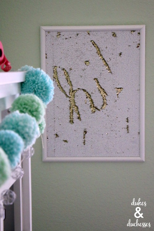 DIY mermaid sequin wall art