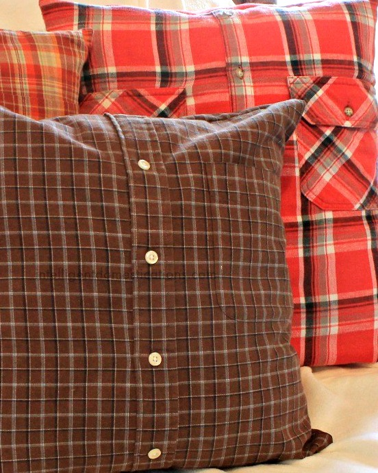 DIY plaid shirt pillows
