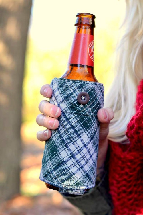 flannel shirt beer koozies