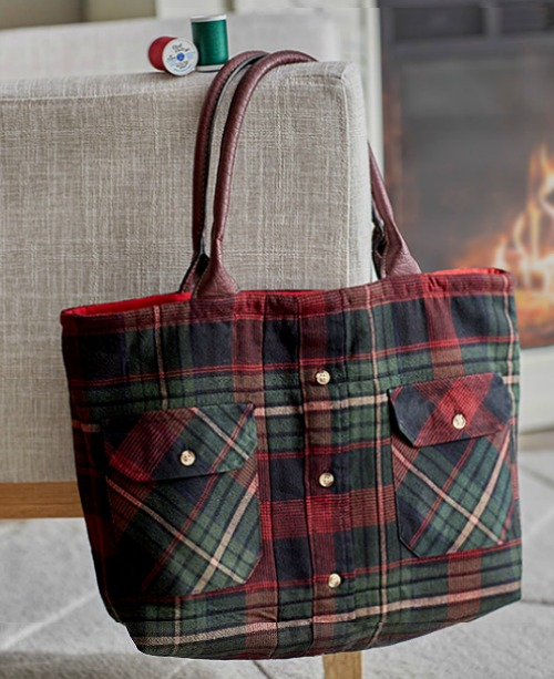 flannel shirt tote bag