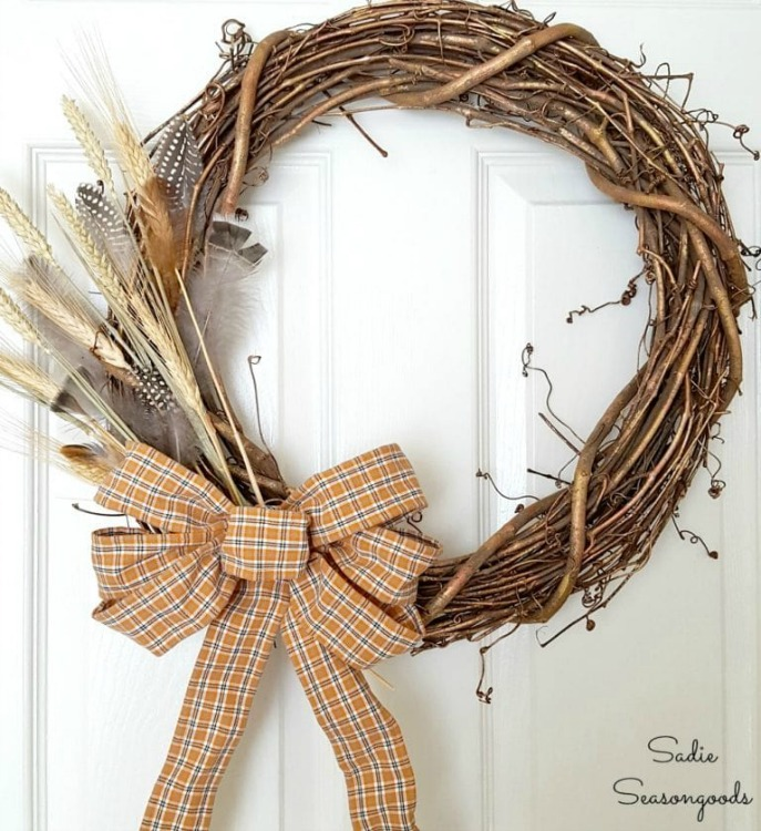 harvest wreath with upcycled plaid ribbon