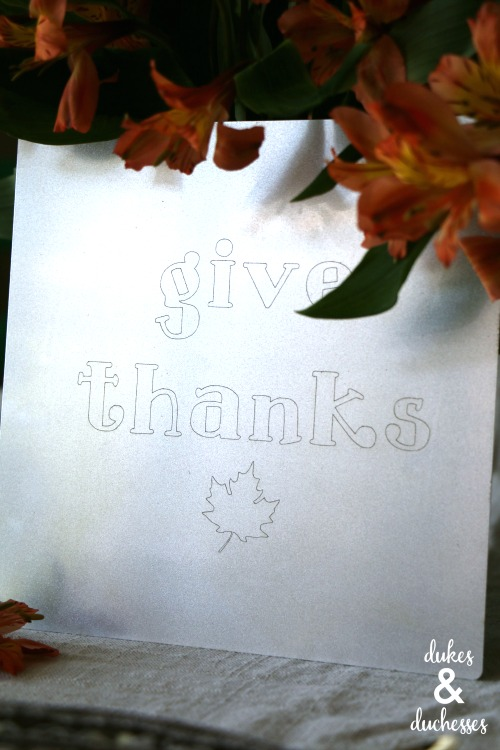metal debossed give thanks sign