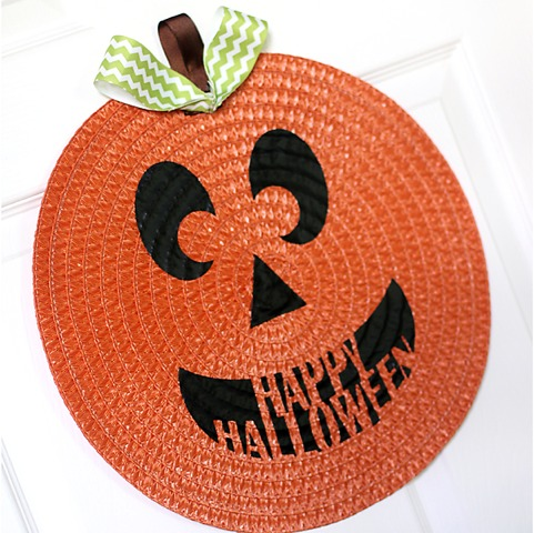 placemat pumpkin door decor