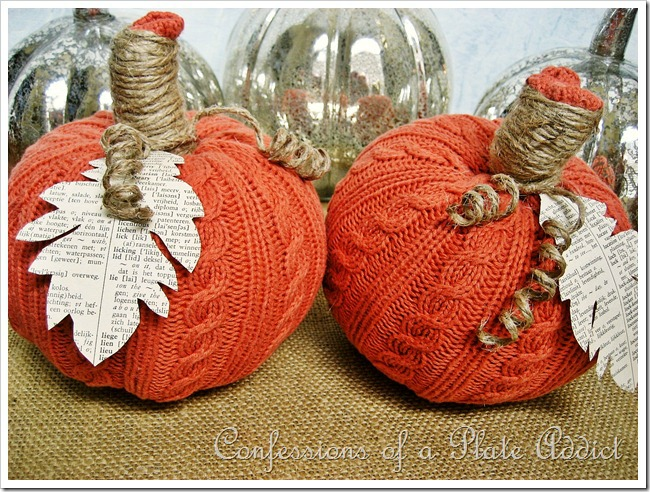 repurposed sweater pumpkins