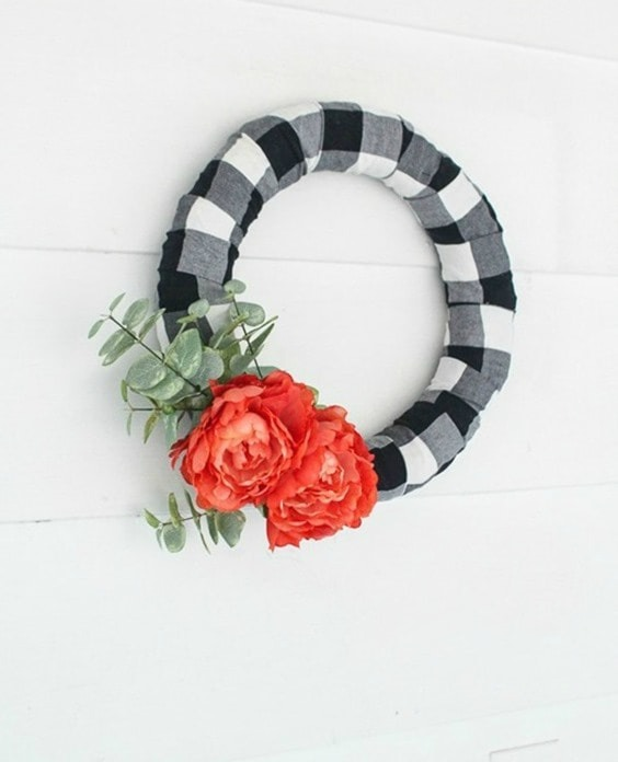 upcycled flannel shirt wreath