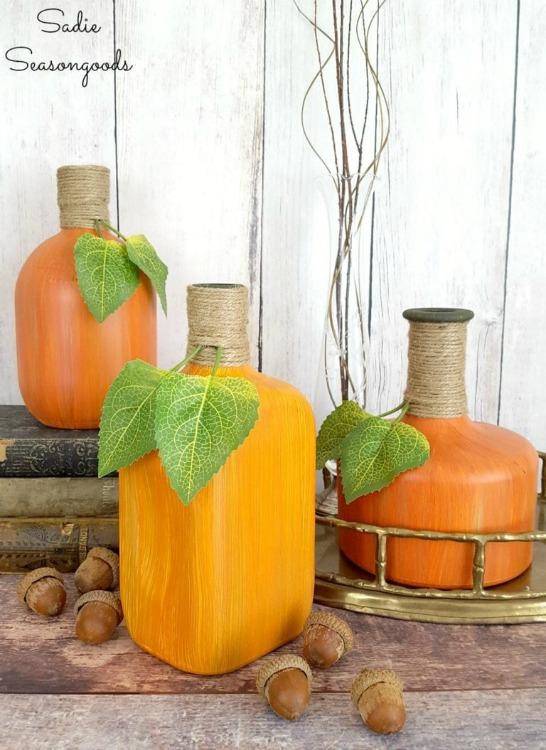 upcycled glass bottle pumpkins