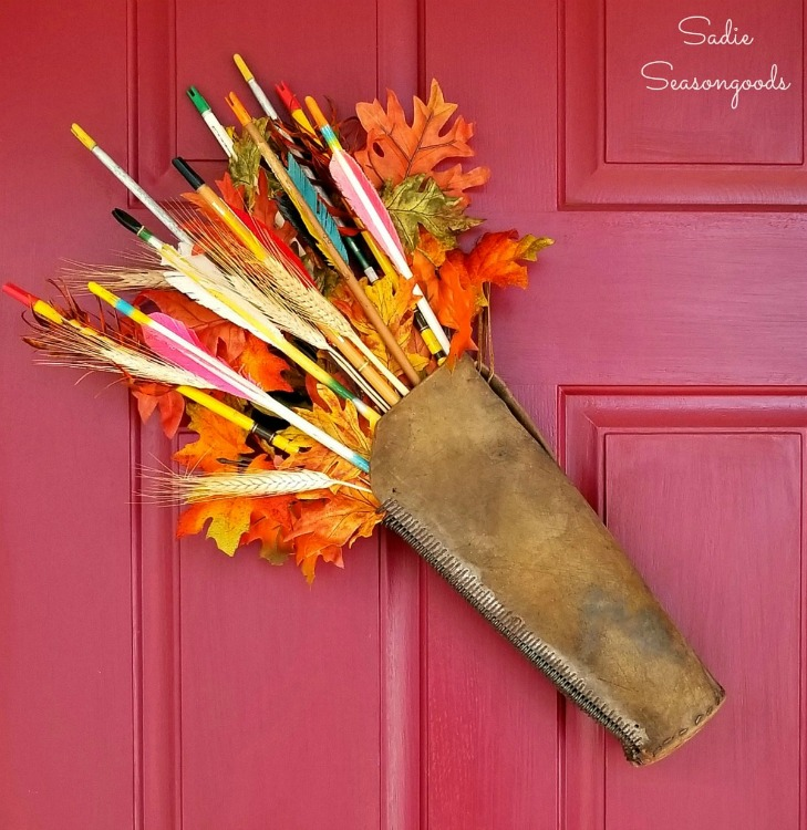 upcycled leather quiver door decor