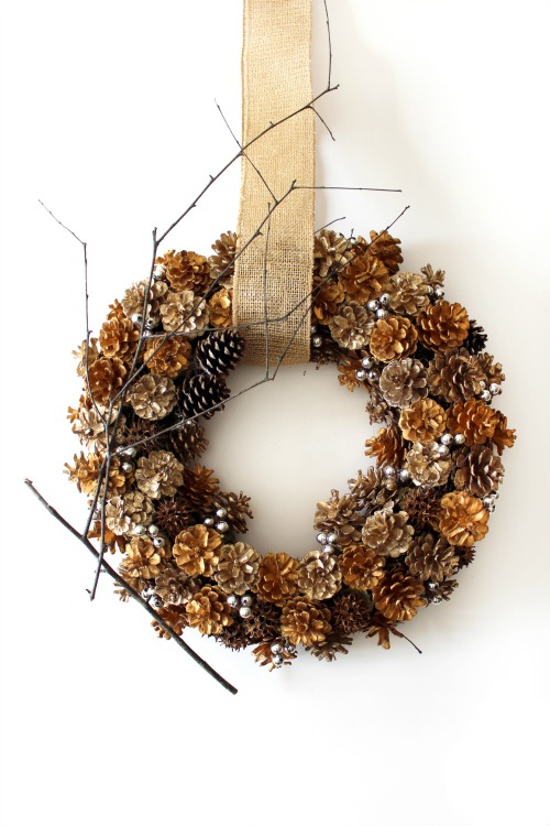 upcycled pinecone wreath