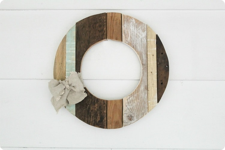 wood wreath with bow thumb