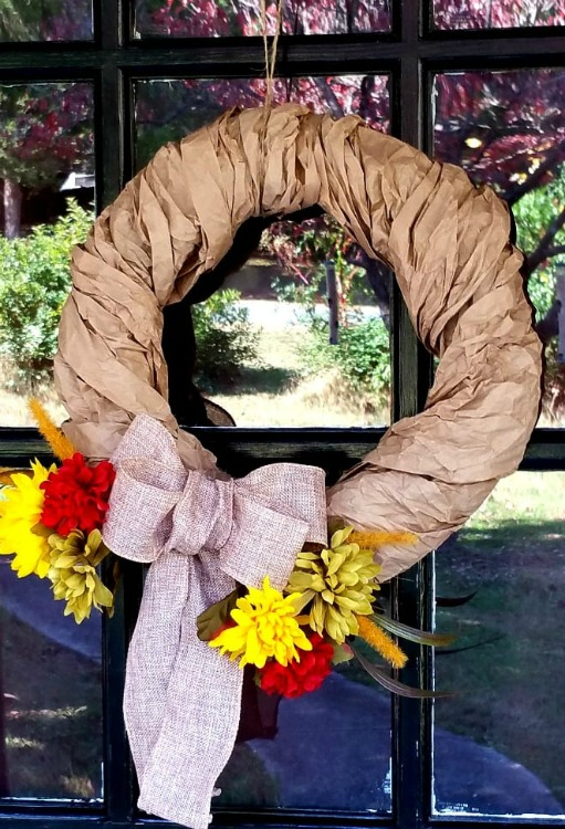 wreath made with upcycled packing paper