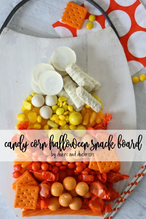 candy corn halloween snack board