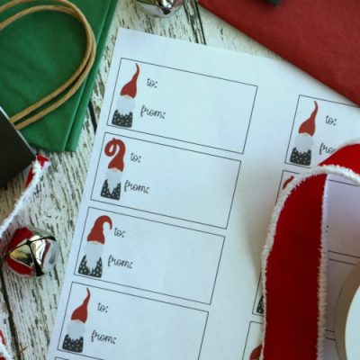 gnome printable holiday gift tags