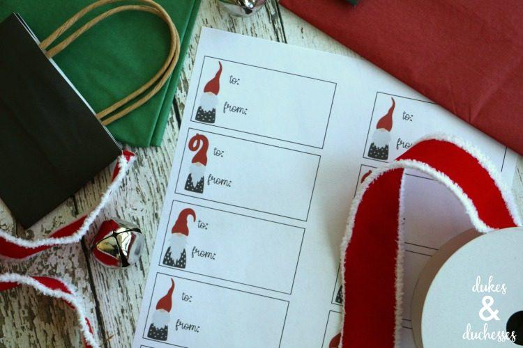 gnome printable holiday gift tags