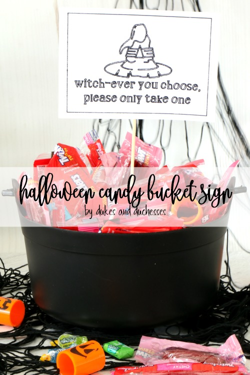 halloween candy bucket sign