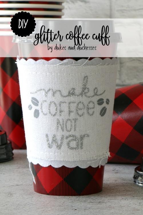 DIY glitter coffee cuff