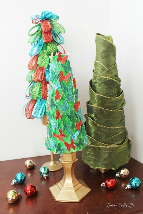 DIY styrofoam and candlestick christmas trees