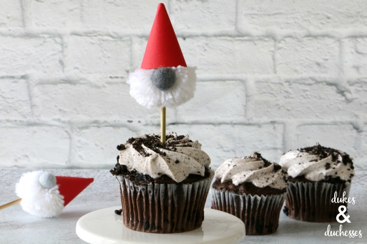 gnome cupcake toppers made with pom poms