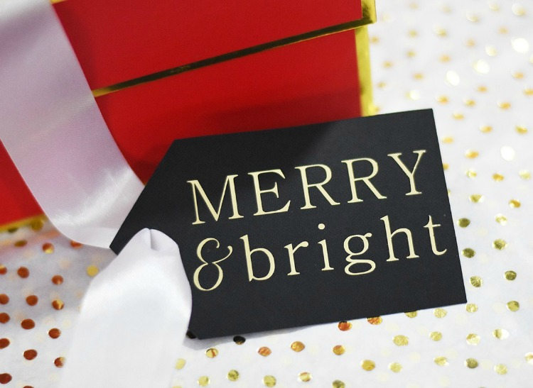 gold foil iron on gift tags